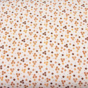 Trzy kwiatuszki ochra na bieli - tkanina bawełniana