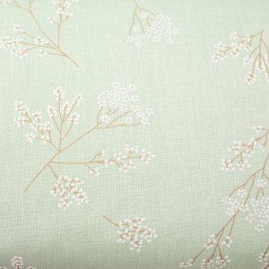 Gałązki z pączkami na miętowym - tkanina bawełniana
