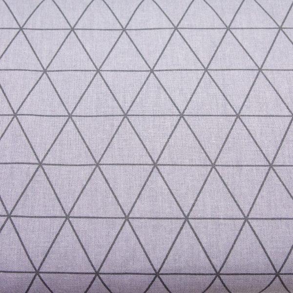 Trójkąty grafit na popielu - tkanina bawełniana