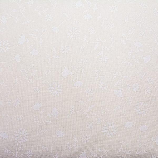 Pnące kwiecie białe na bieli - tkanina bawełniana