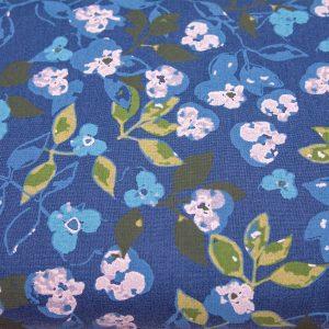 Malowane kwiaty na szaro-granatowym - tkanina bawełniana