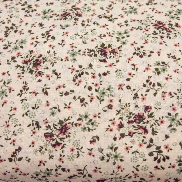 Łączka brudny róż na kremowym - tkanina bawełniana