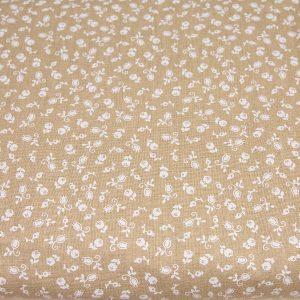 Białe pączki na beżowym - tkanina bawełniana