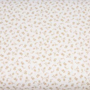 Beżowe pączki na bieli - tkanina bawełniana