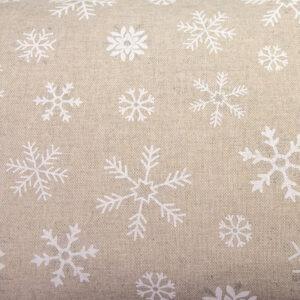 Białe płatki śniegu na beżowym - tkanina bawełniano-poliestrowa