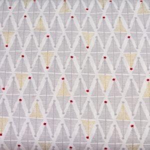 Srebrne i złote choineczki - tkanina bawełniana