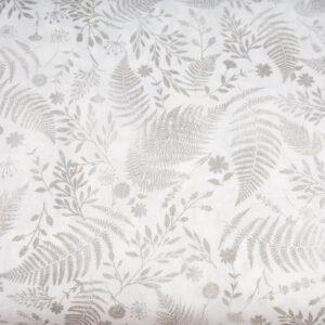 Szare paprotki na bieli - tkanina bawełniana
