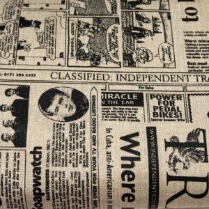 Stara gazeta beż - tkanina bawełniana