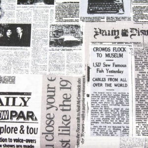 Stara gazeta biel - tkanina bawełniana
