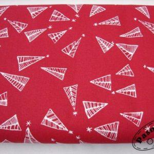 Tkanina bawełniana białe choinki na czerwieni