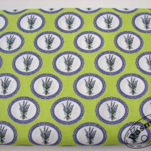 Tkanina bawełniana lawenda w owalu na zieleni