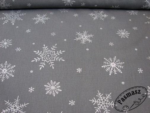 Tkanina bawełniana srebrne płatki na grafitowym