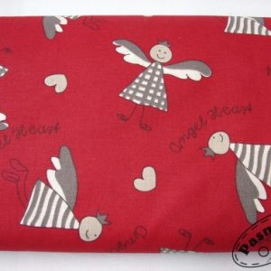 Tkanina bawełniana wesołe aniołki na bordo