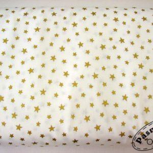 Tkanina bawełniana złote gwiazdki na bieli