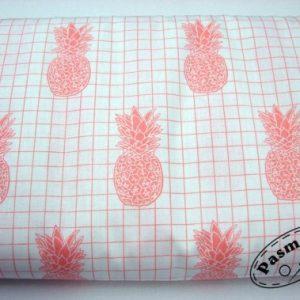 Tkanina bawełniana ananasy na kratce