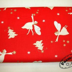 Anioł przy choince - tkanina bawełniana