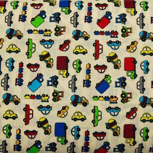Kolorowe autka – tkanina bawełniana