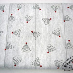 Tkanina bawełniana choineczki na deskach
