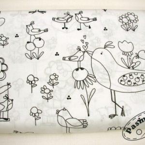 Tkanina bawełniana czarne ptaszki na bieli