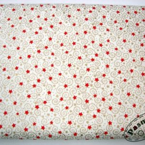 Tkanina bawełniana czerwone gwiazdki na złotokremowym