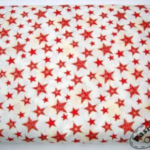Tkanina bawełniana czerwone gwiazdki ze złotem