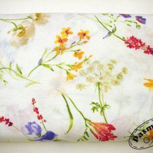 Tkanina bawełna-poliester czerwone i fioletowe frezje