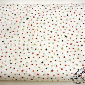 Tkanina bawełniana drobne kolorowe gwiazdeczki na bieli
