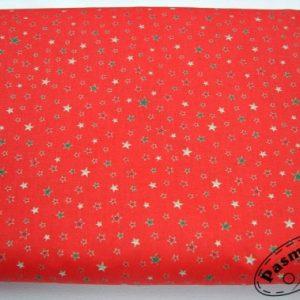 Tkanina bawełniana drobne kolorowe gwiazdeczki na czerwieni