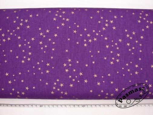 Złote gwiazdki na fiolecie - tkanina bawełniana