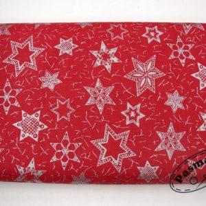 Srebrne gwiazdy na bordo - tkanina bawełniana
