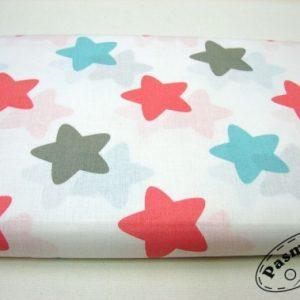 Tkanina bawełniana kolorowe gwiazdy na bieli