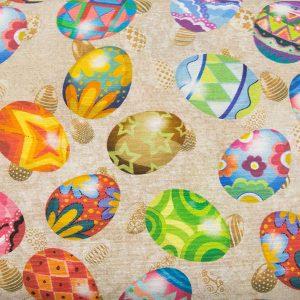 Kolorowe jajka świąteczne – tkanina bawełniano-poliestrowa
