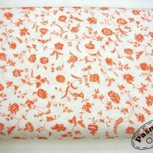 Tkanina bawełniana koralowe kwiaty na bieli