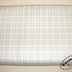 Tkanina bawełniana kratka srebrna na białym