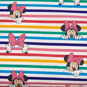 Myszka Minnie w kolorowych paskach – tkanina bawełniana