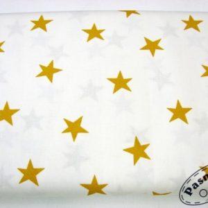 Tkanina bawełniana miodowe gwiazdy na bieli