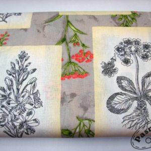 Tkanina bawelniana obrazki kwiatow na bezu