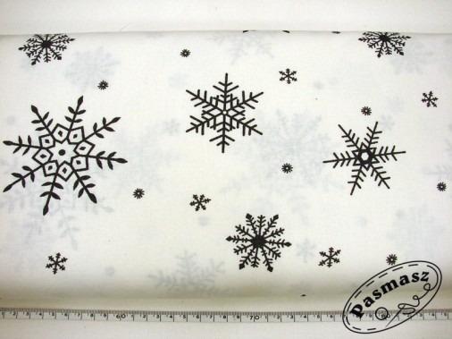 Grafitowe płatki na bieli - tkanina bawełniana