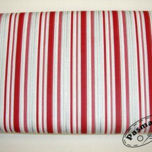 Paski srebrno-bordowe - tkanina bawełniana