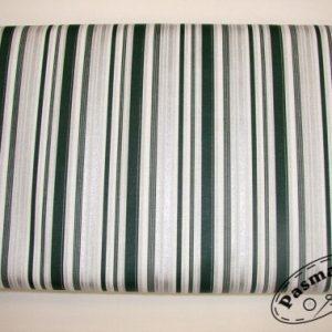 Tkanina bawełniana paski srebrno-zielone