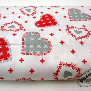 Tkanina bawełniana szaro-czerwone serca