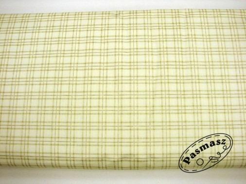 Tkanina bawełniana złota kratka na kremie
