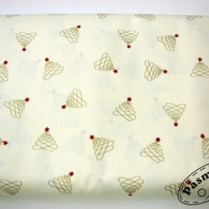 Tkanina bawełniana złote choineczki na kremie