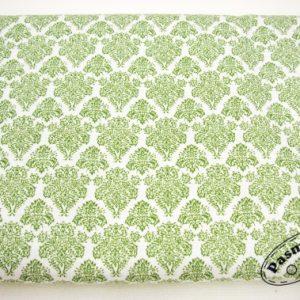 Zielona arabeska na bieli – tkanina bawełniana